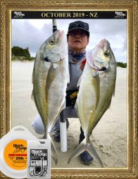two big trevally caught on beach at marsden point whangarei fishing nz